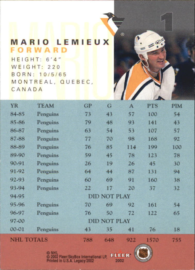 2001-02 Fleer Legacy #1 Mario Lemieux SP back image