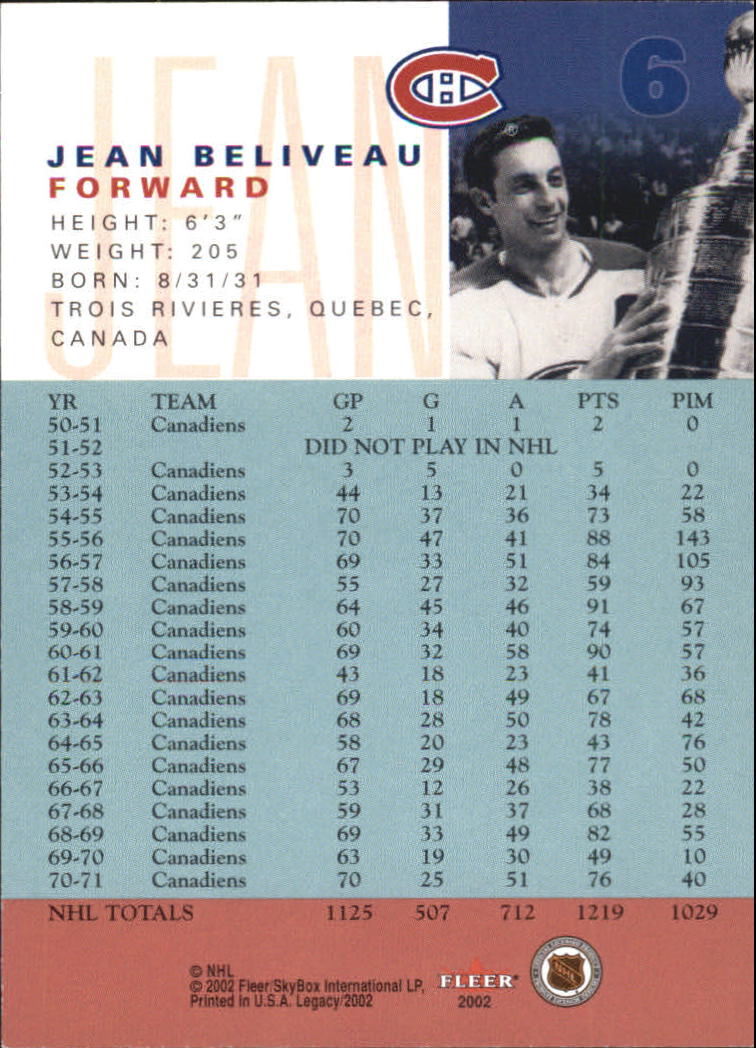 2001-02 Fleer Legacy #6 Jean Beliveau SP back image