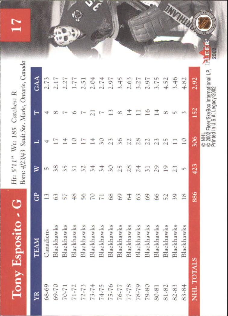 2001-02 Fleer Legacy #17 Tony Esposito back image