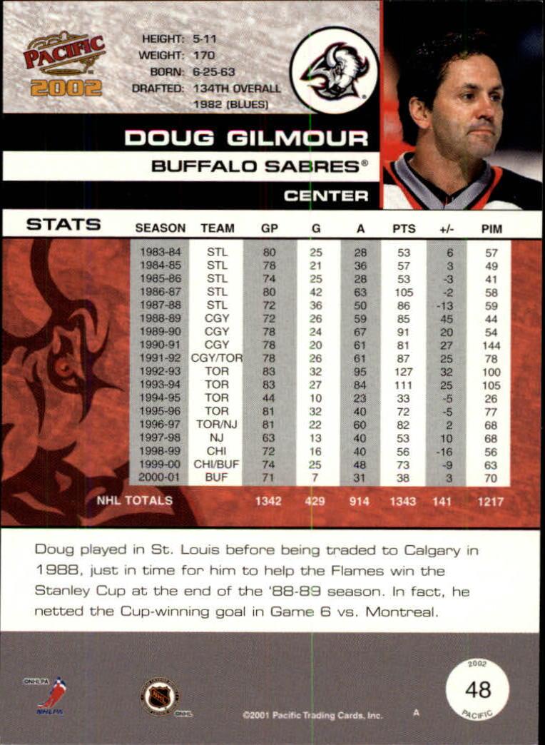 2001-02 Pacific #48 Doug Gilmour back image
