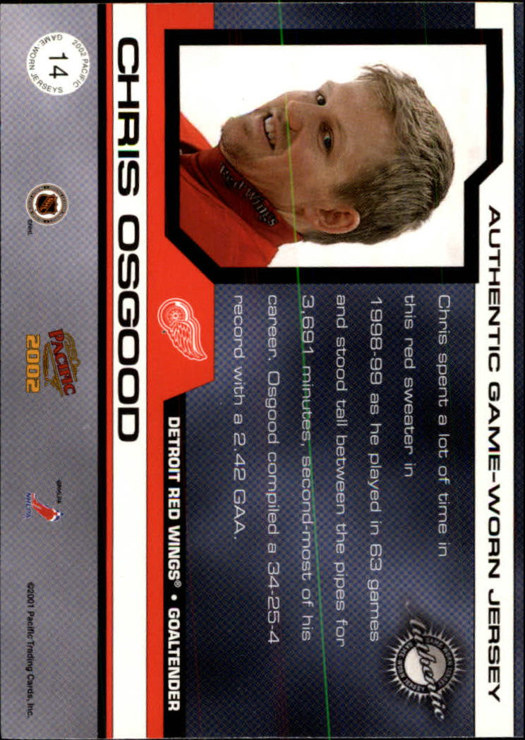 2001-02 Pacific Jerseys #14 Chris Osgood/760 back image