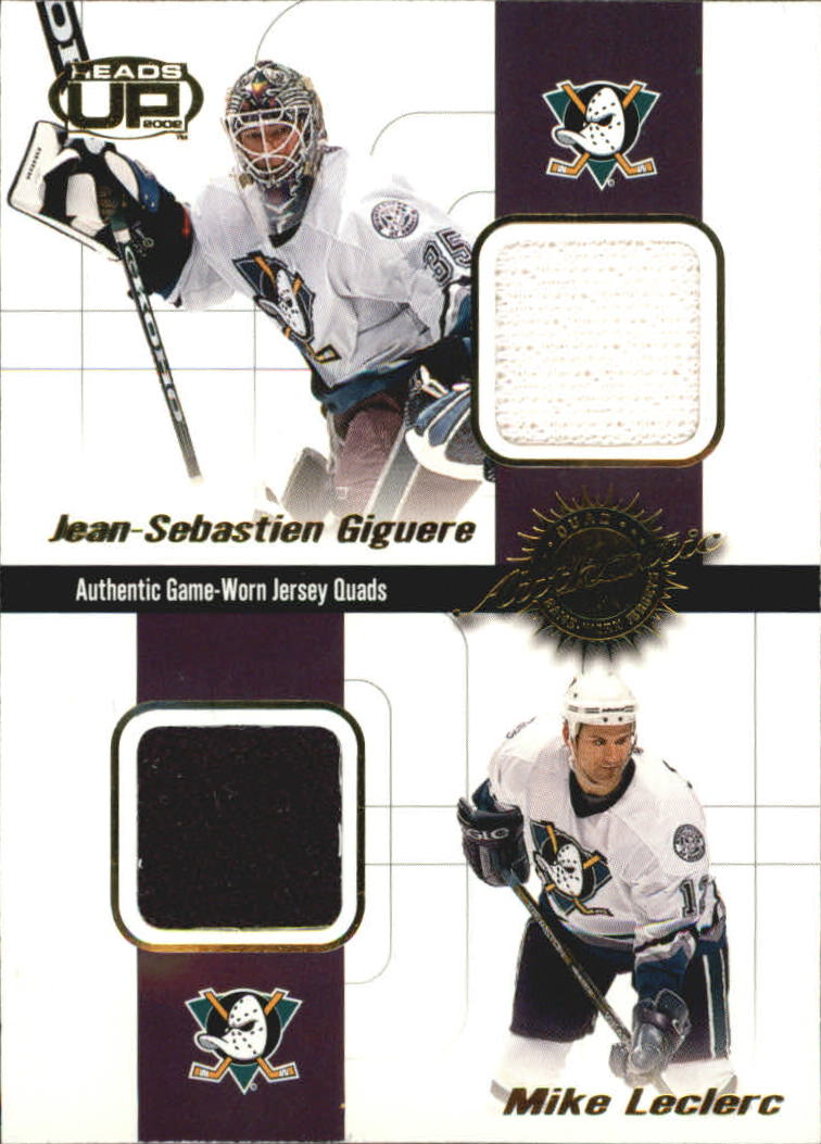 2001-02 Pacific Heads Up Quad Jerseys #1 Jean-Sebastien Giguere/Mike Leclerc/Teemu Selanne/Guy Hebert