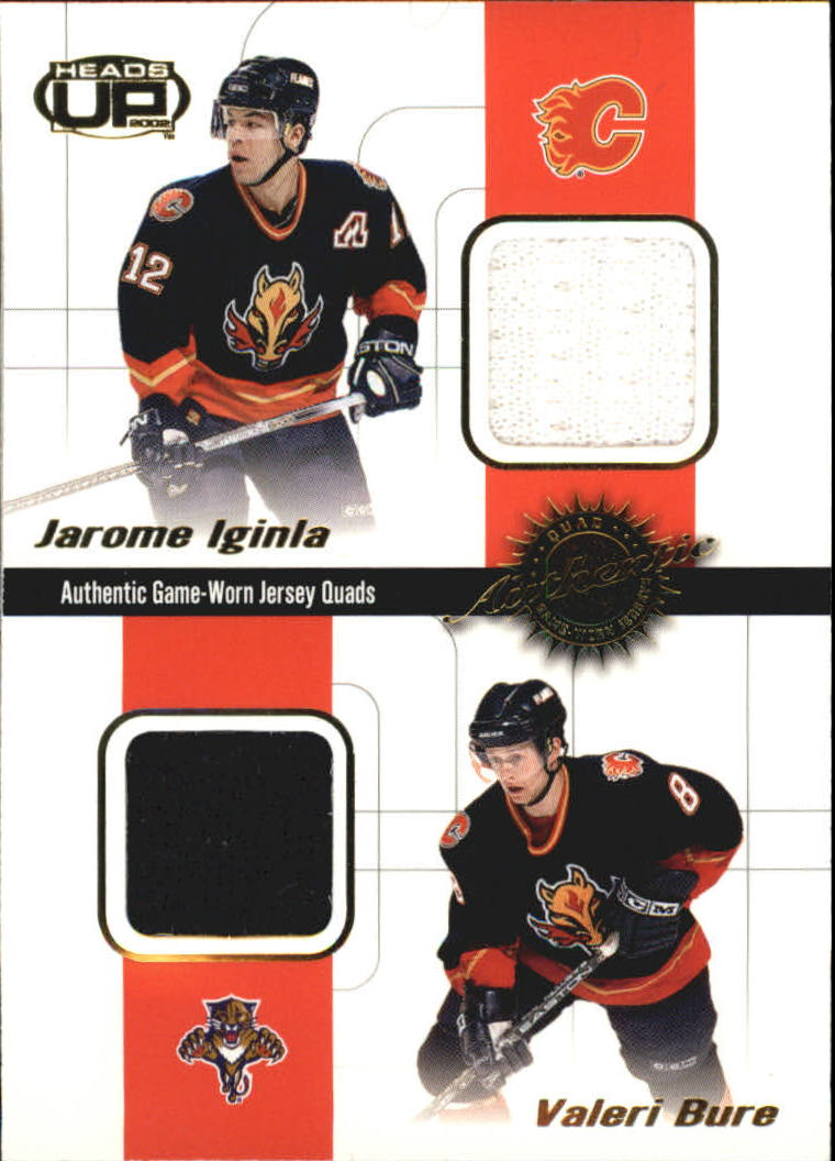 2001-02 Pacific Heads Up Quad Jerseys #5 Jarome Iginla/Valeri Bure/Marc Savard/Rico Fata