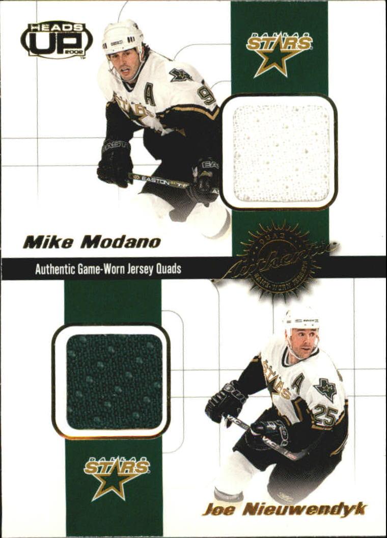 2001-02 Pacific Heads Up Quad Jerseys #10 Mike Modano/Joe Nieuwendyk/Darryl Sydor/Derian Hatcher