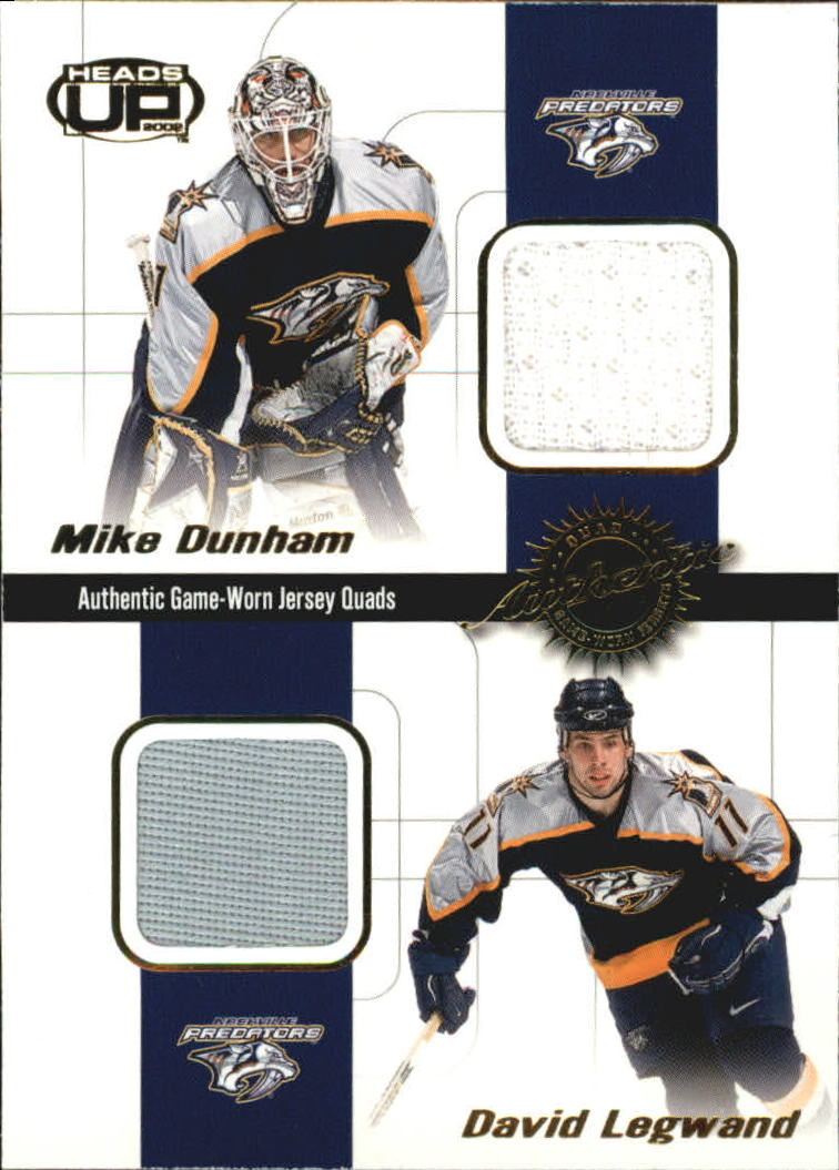 2001-02 Pacific Heads Up Quad Jerseys #13 Mike Dunham/David Legwnd/Tom Fitzgerald/Scott Walker