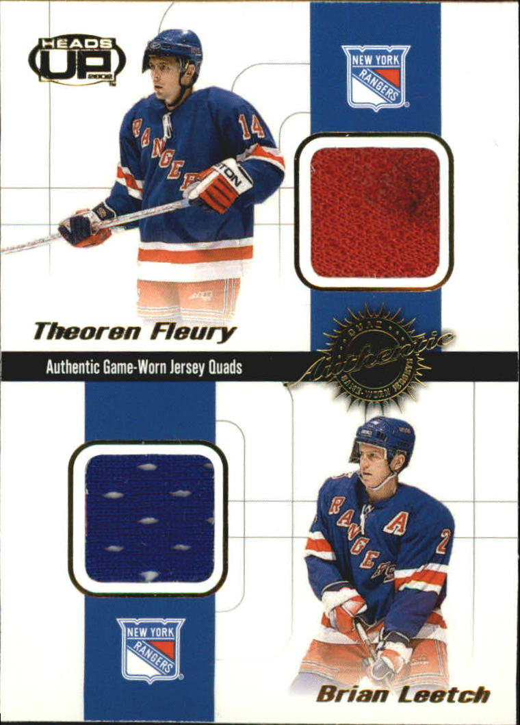 2001-02 Pacific Heads Up Quad Jerseys #14 Theo Fleury/Brian Leetch/Mike Richter/Petr Nedved