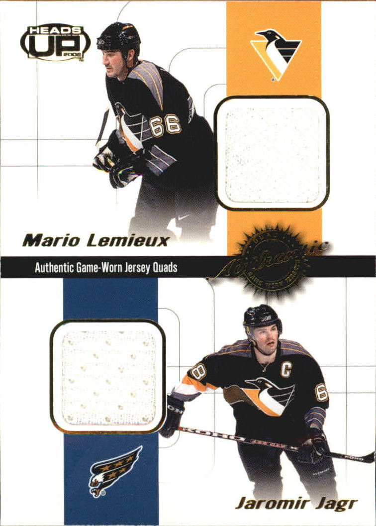 2001-02 Pacific Heads Up Quad Jerseys #17 Mario Lemieux/Jaromir Jagr/Jan Hrdina/Darius Kasparaitis