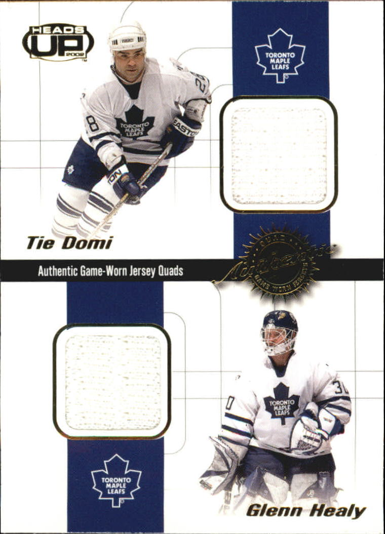 2001-02 Pacific Heads Up Quad Jerseys #19 Tie Domi/Glenn Healy/Daniel Alfredsson/Dan Cloutier