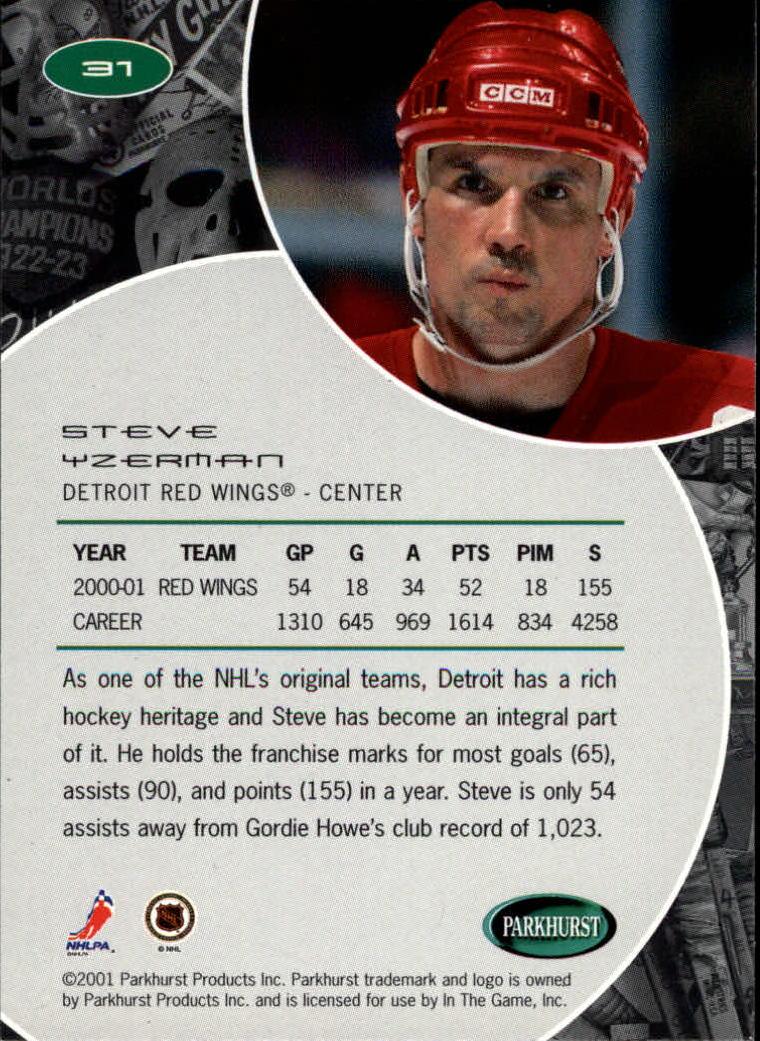 2001-02 Parkhurst #31 Steve Yzerman back image