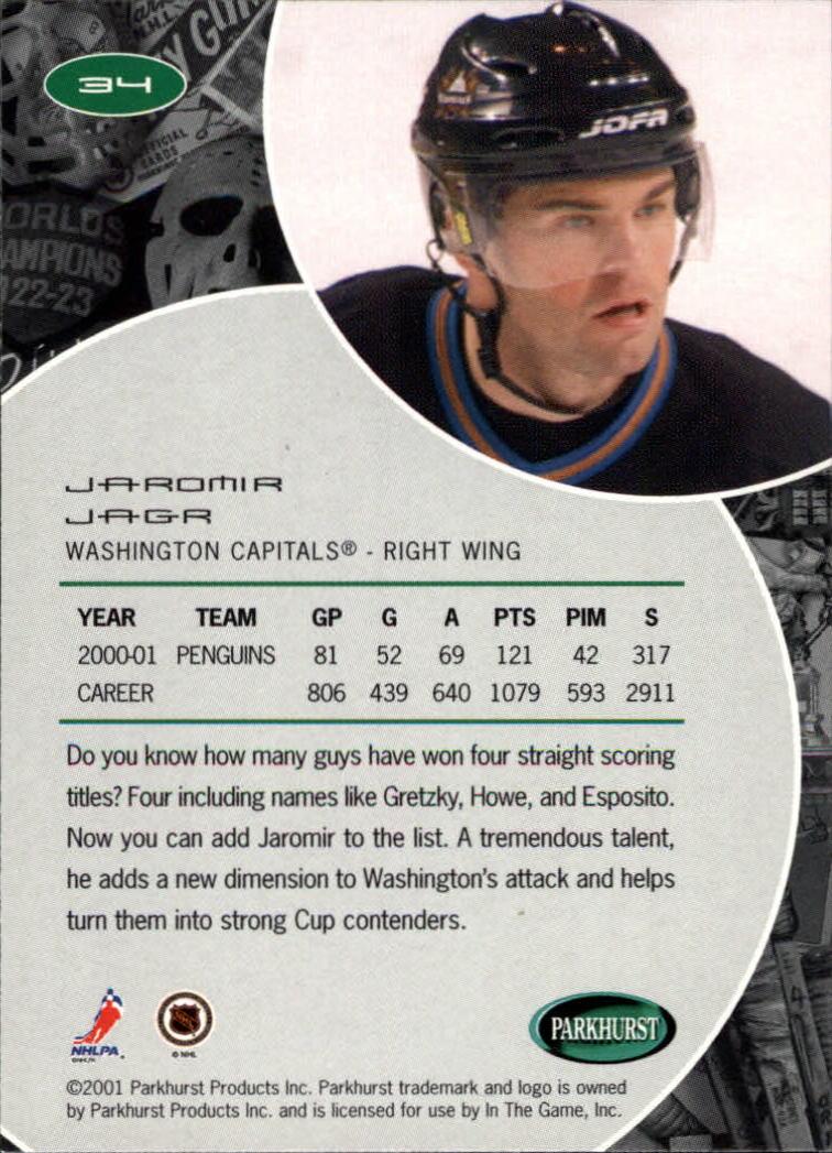 2001-02 Parkhurst #34 Jaromir Jagr back image