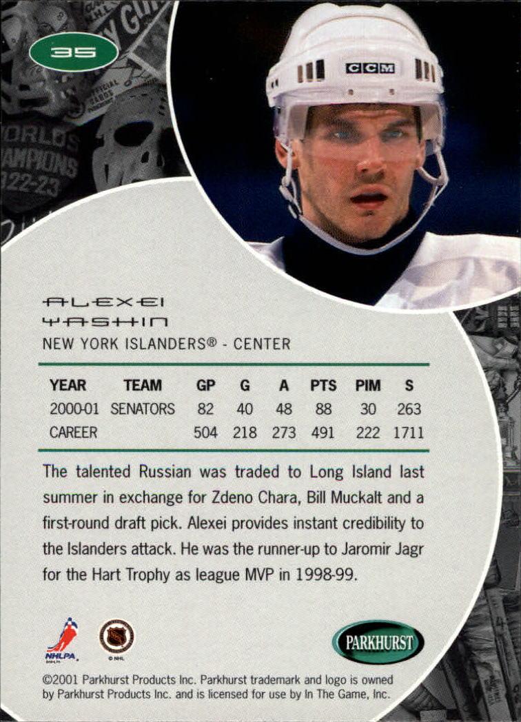 2001-02 Parkhurst #35 Alexei Yashin back image