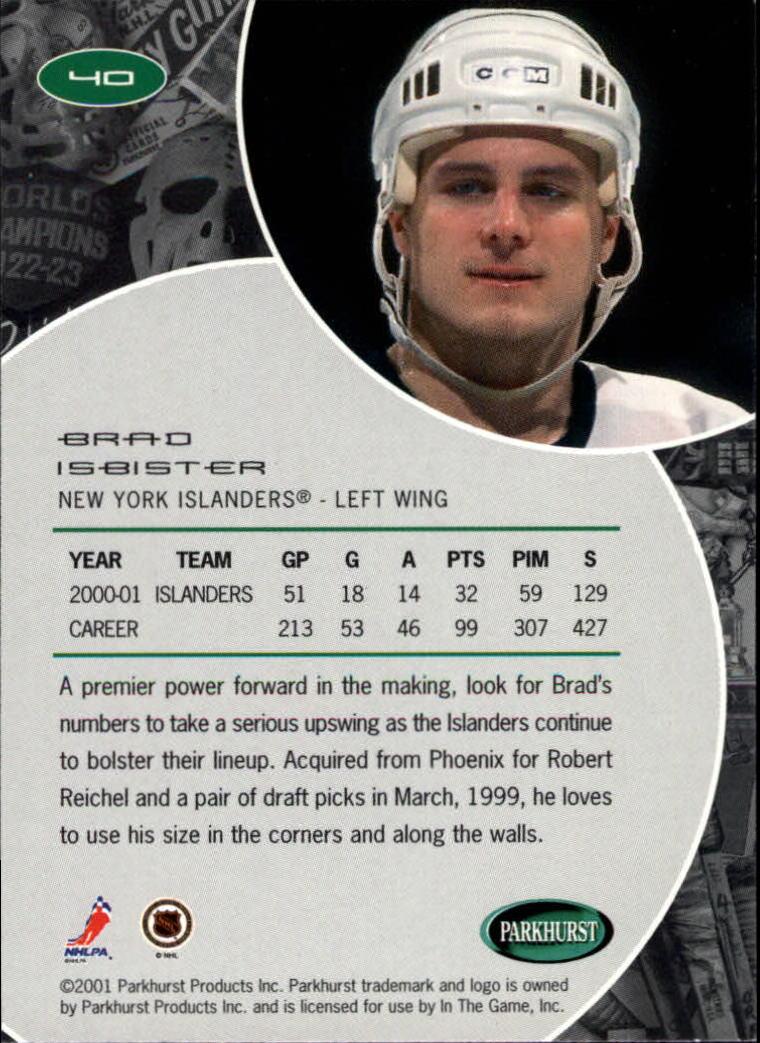 2001-02 Parkhurst #40 Brad Isbister back image