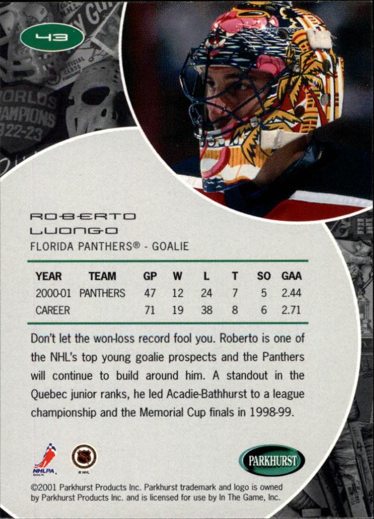 2001-02 Parkhurst #43 Roberto Luongo back image