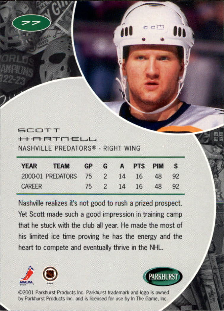 2001-02 Parkhurst #77 Scott Hartnell back image