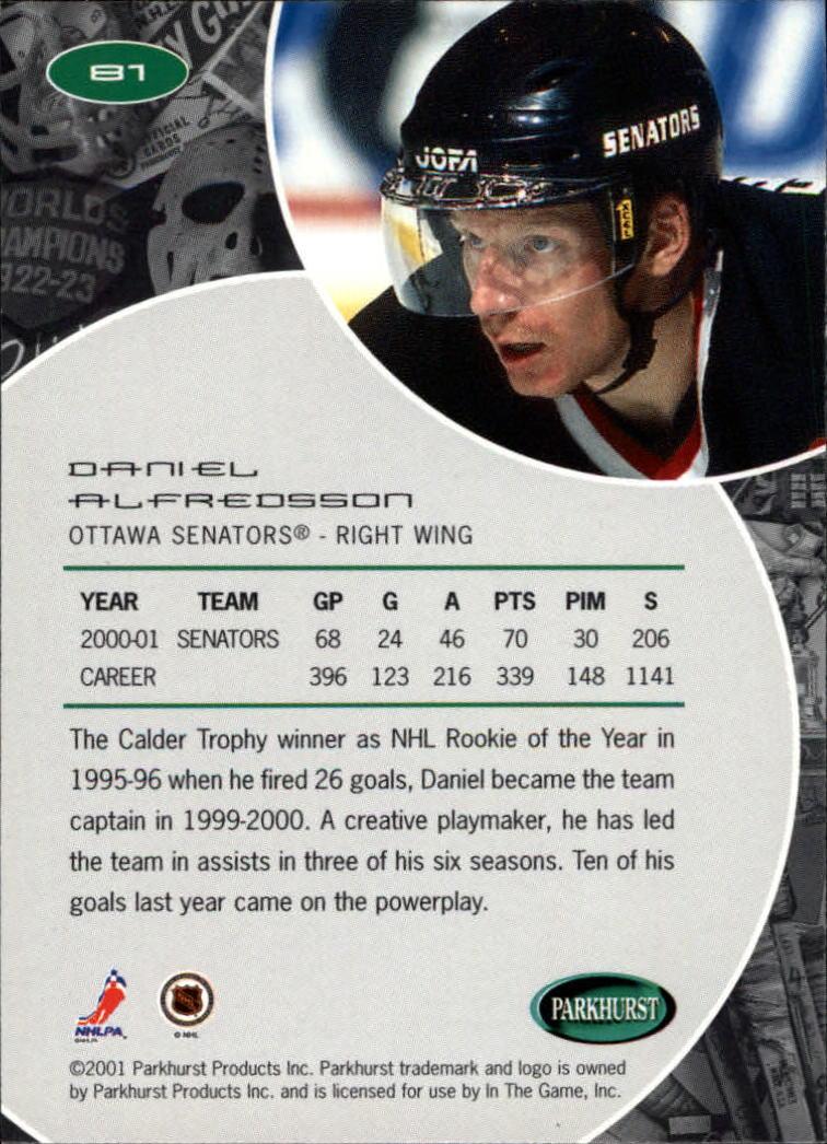 2001-02 Parkhurst #81 Daniel Alfredsson back image