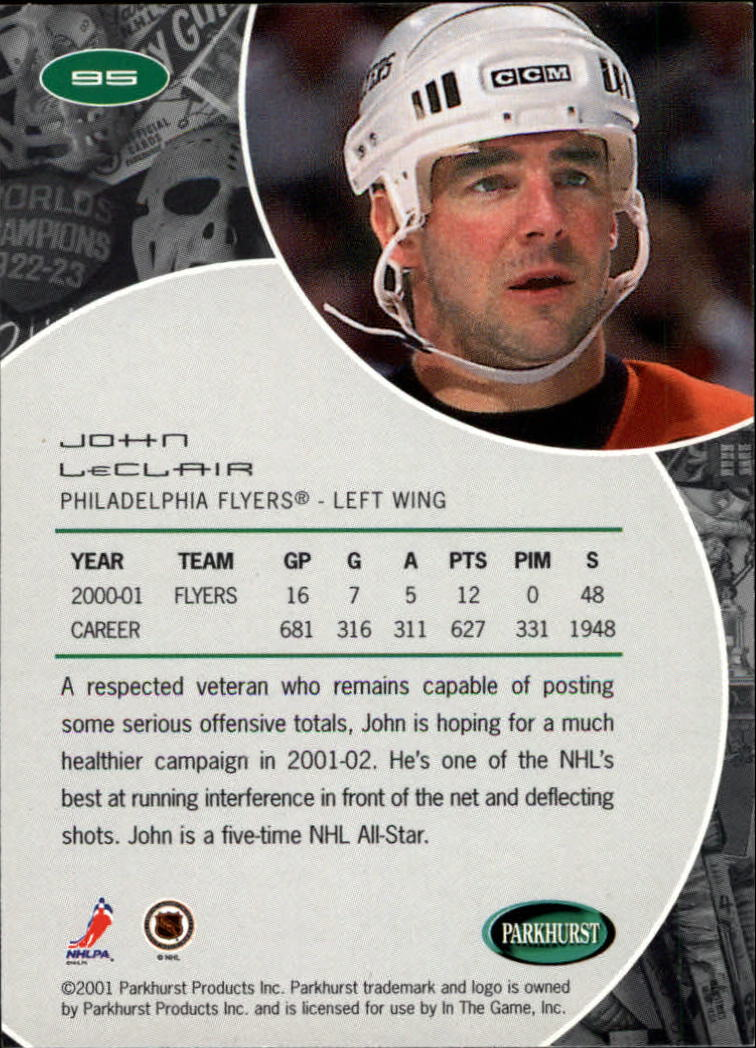 2001-02 Parkhurst #95 John LeClair back image