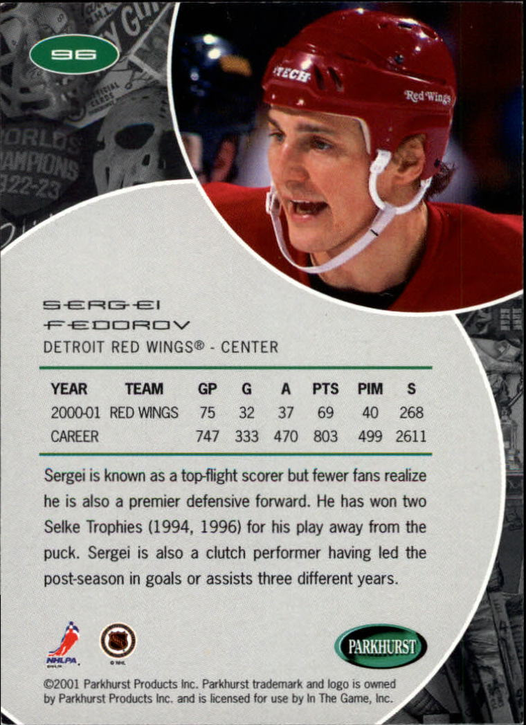 2001-02 Parkhurst #96 Sergei Fedorov back image