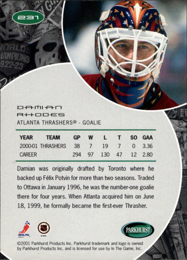 2001-02 Parkhurst #231 Damian Rhodes back image