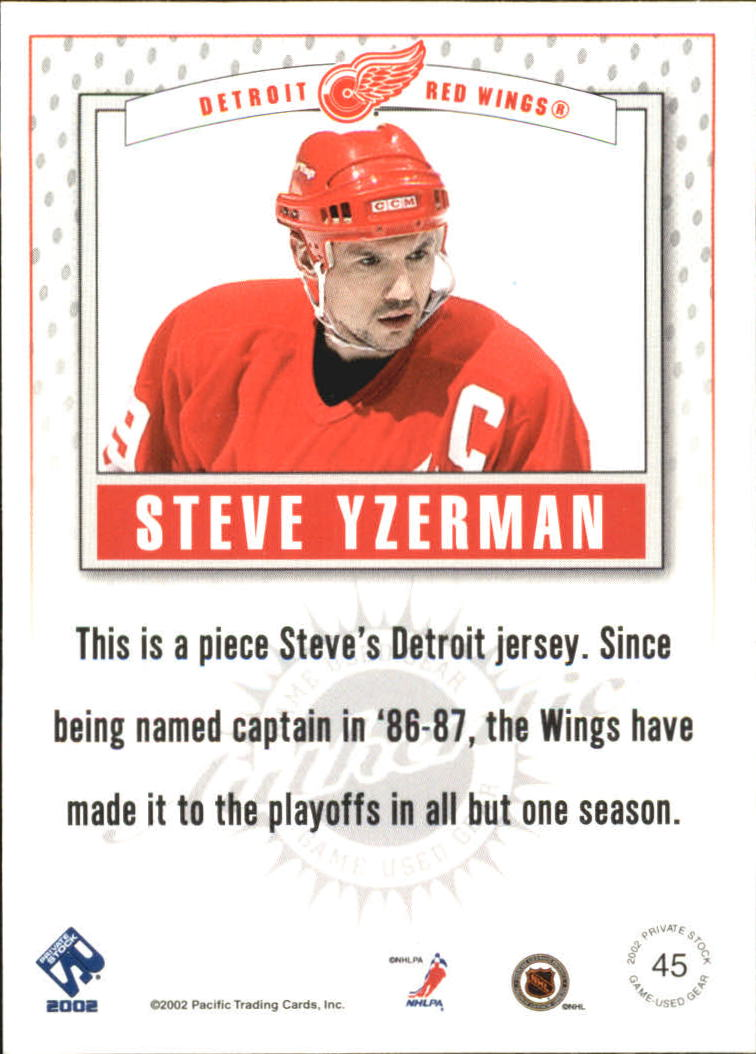 2001-02 Private Stock Game Gear #45 Steve Yzerman back image