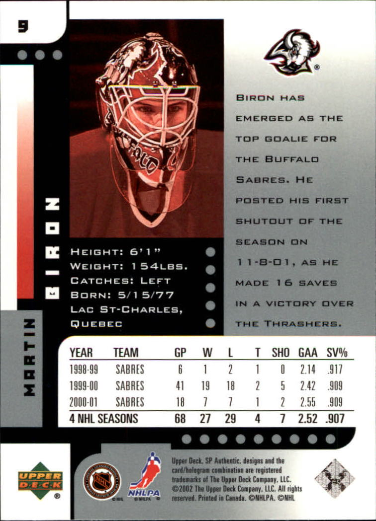 Verzamelingen IJshockey 2001-02 SP Authentic #126 Martin Biron Buffalo Sabres Hockey Card