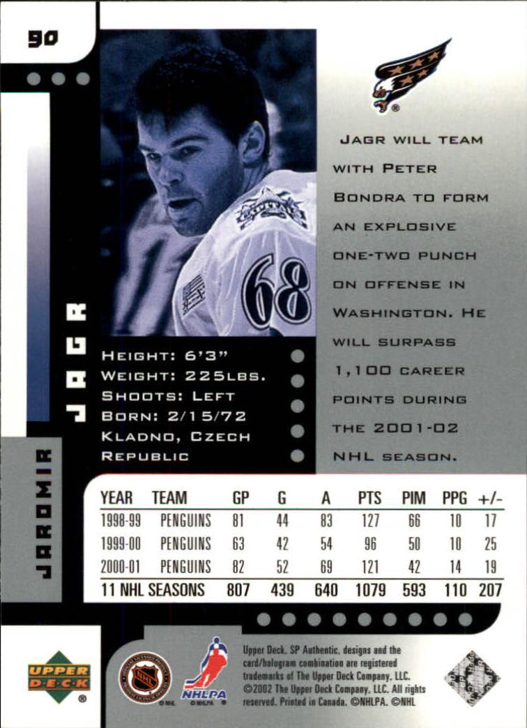 2001-02 SP Authentic #90 Jaromir Jagr back image