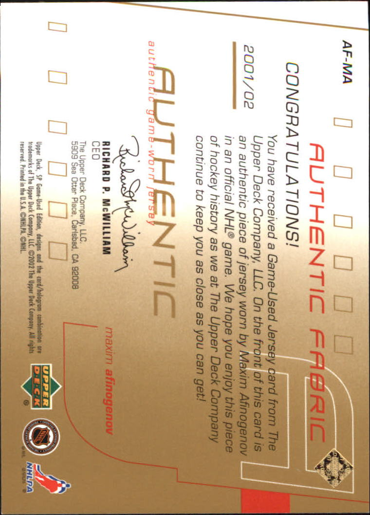 2001-02 SP Game Used Authentic Fabric Gold #AFMA Maxim Afinogenov back image