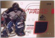 2001-02 SP Game Used Authentic Fabric Gold #AFMN Mika Noronen