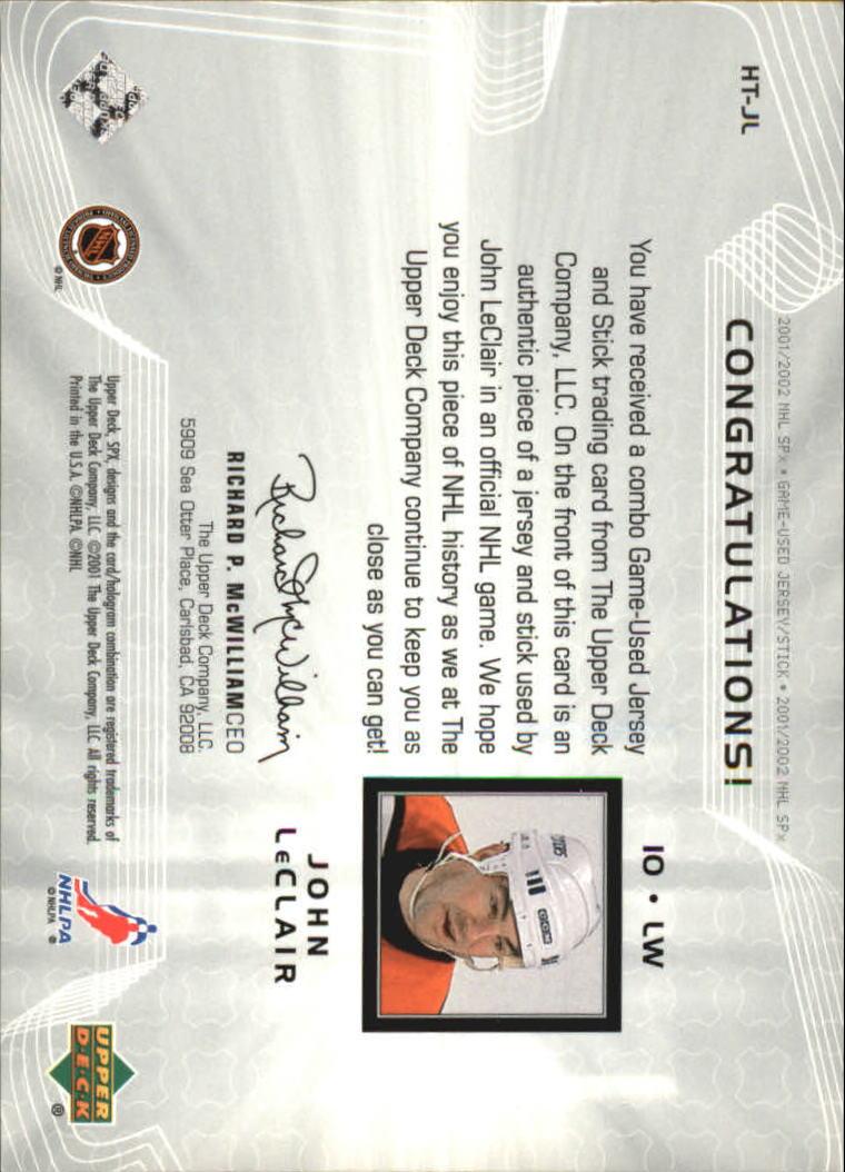 2001-02 SPx Hockey Treasures #HTJL John LeClair back image