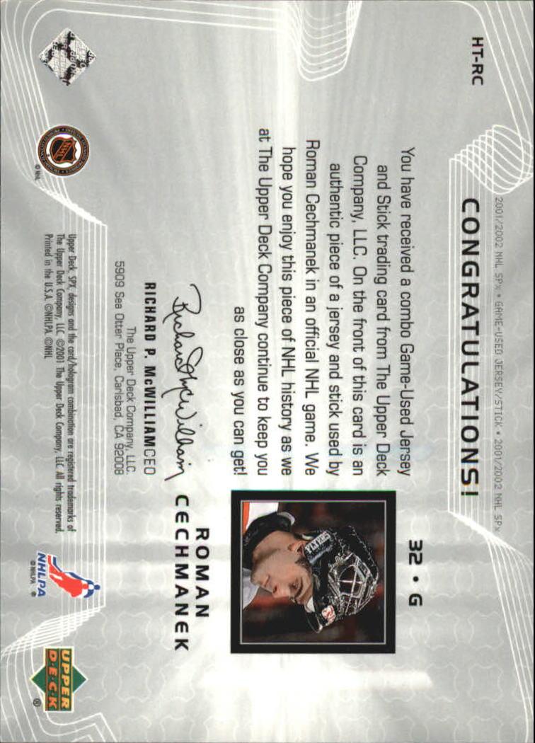 2001-02 SPx Hockey Treasures #HTRC Roman Cechmanek back image