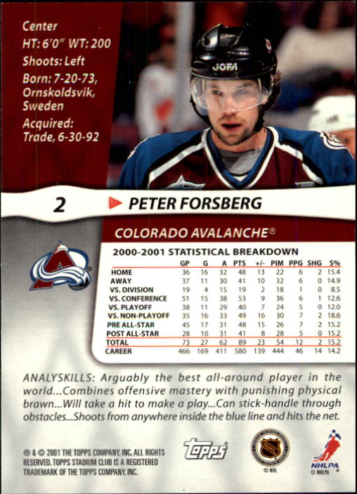 2001-02 Stadium Club #2 Peter Forsberg back image
