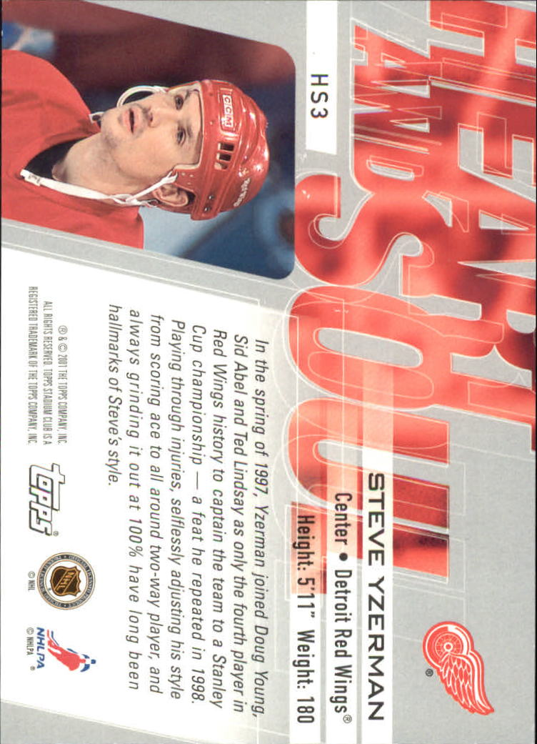 2001-02 Stadium Club Heart and Soul #HS3 Steve Yzerman back image