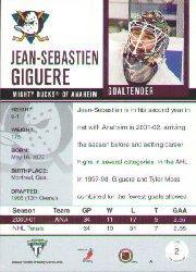 2001-02 Titanium #2 Jean-Sebastien Giguere back image