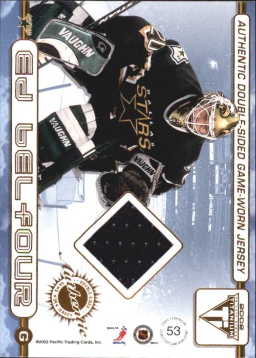 2001-02 Titanium Double-Sided Jerseys #53 Marty Turco/Ed Belfour back image