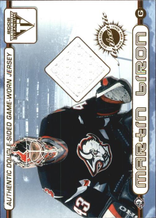 2001-02 Titanium Double-Sided Jerseys #66 Martin Biron/Miroslav Satan