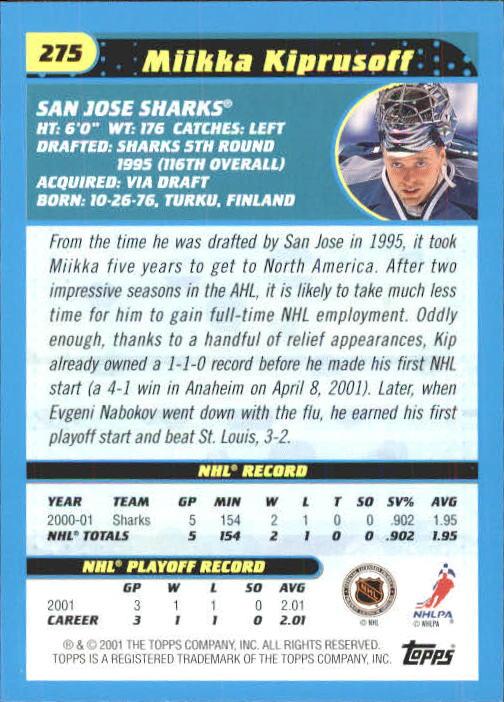 2001-02 Topps #275 Miikka Kiprusoff back image