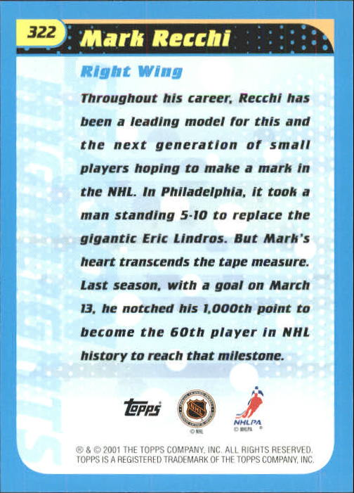 2001-02 Topps #322 Mark Recchi back image