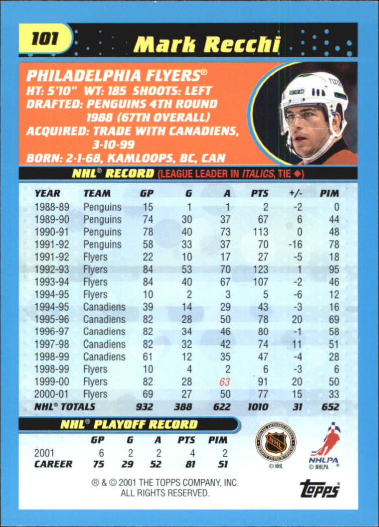 2001-02 Topps 71-72 Heritage Parallel #101 Mark Recchi back image