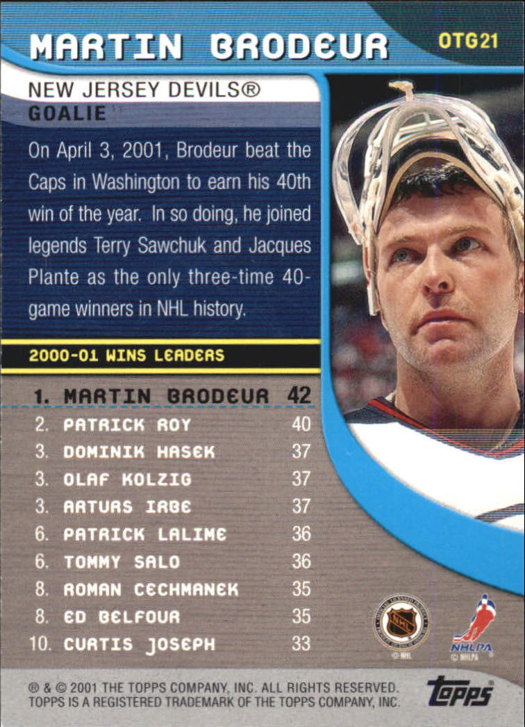 2001-02 Topps Own The Game #OTG21 Martin Brodeur back image