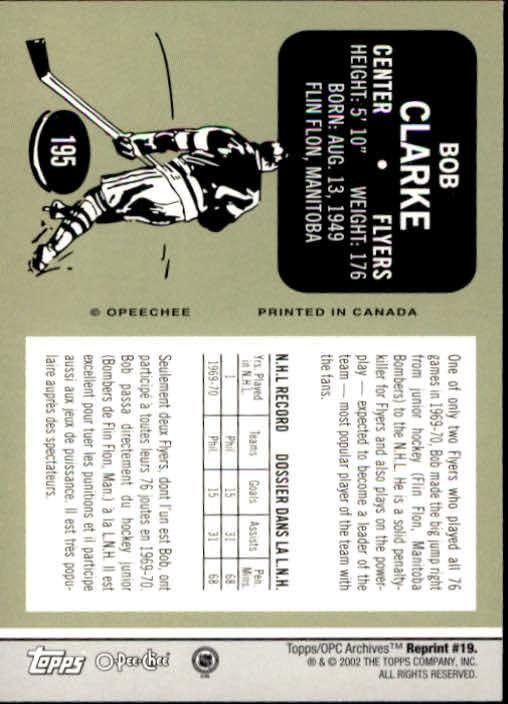 2001-02 Topps Archives #19 Bobby Clarke back image