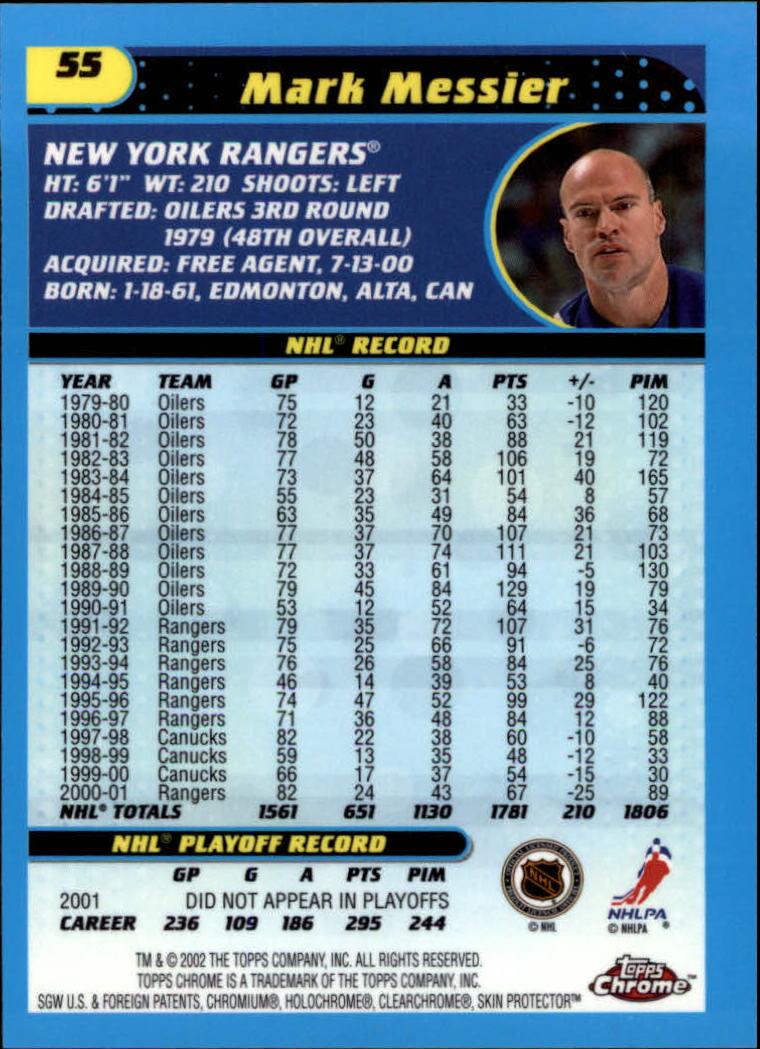 2001-02 Topps Chrome #55 Mark Messier back image