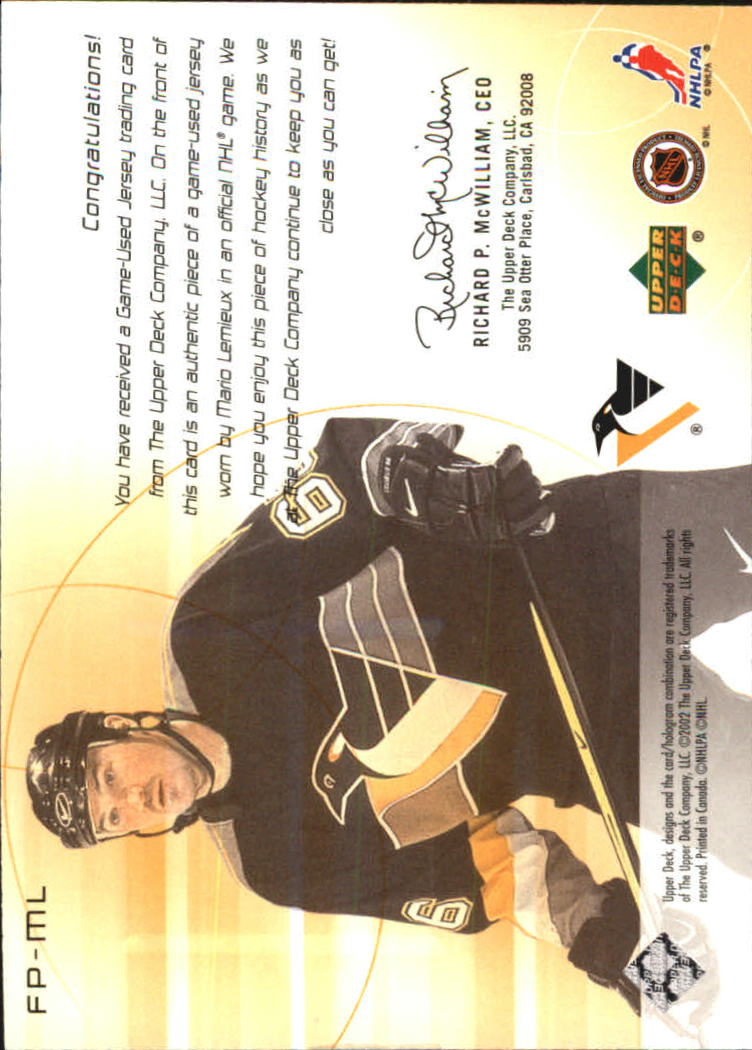 2001-02 UD Challenge for the Cup Jerseys #FPML Mario Lemieux back image