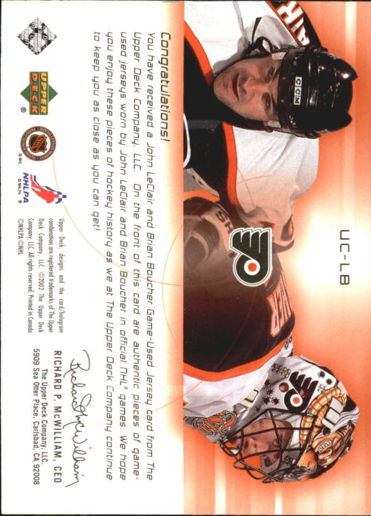 2001-02 UD Challenge for the Cup Jerseys #UCLB John LeClair/Brian Boucher back image