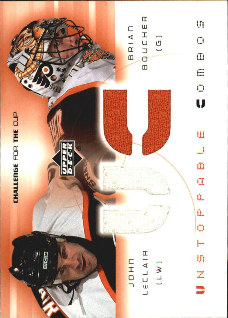 2001-02 UD Challenge for the Cup Jerseys #UCLB John LeClair/Brian Boucher