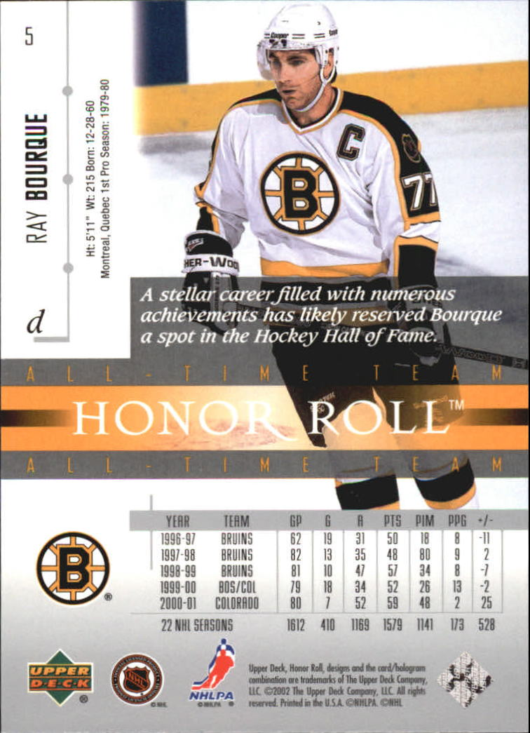 2001-02 Upper Deck Honor Roll #5 Ray Bourque back image