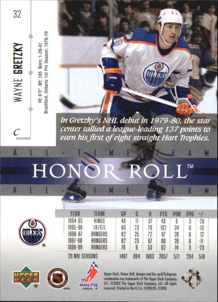 2001-02 Upper Deck Honor Roll #32 Wayne Gretzky back image