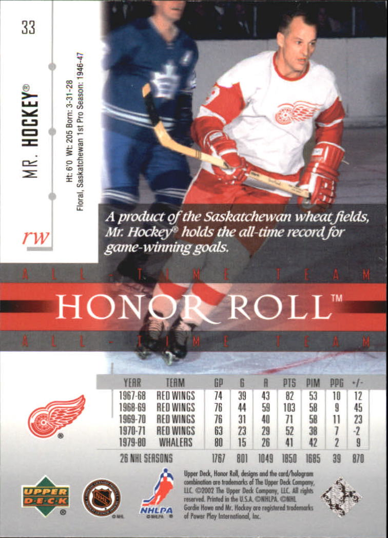 2001-02 Upper Deck Honor Roll #33 Gordie Howe back image