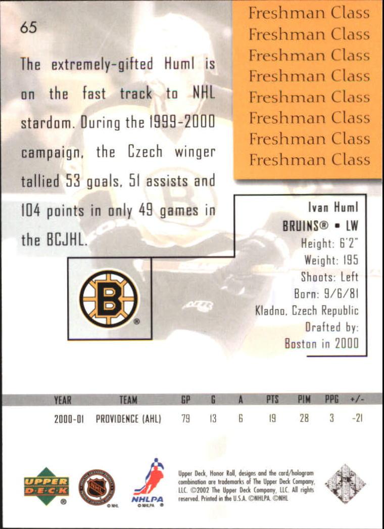 2001-02 Upper Deck Honor Roll #65 Ivan Huml RC back image