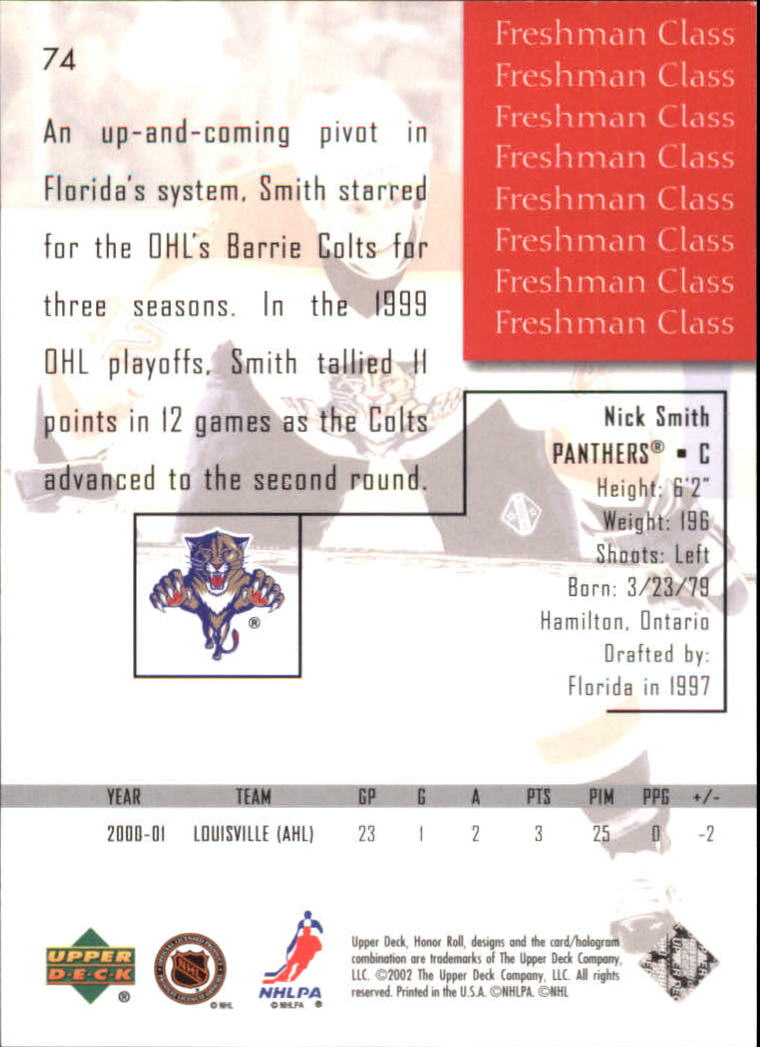 2001-02 Upper Deck Honor Roll #74 Nick Smith RC back image