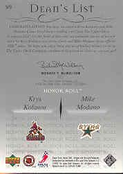 2001-02 Upper Deck Honor Roll #99 Krys Kolanos RC/Mike Modano JSY back image