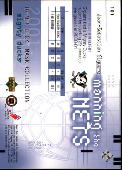 2001-02 UD Mask Collection #101 Jean-Sebastien Giguere MTN back image